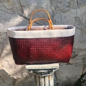 Vintage red woven purse with bamboo straps